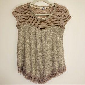 Mauve cream knit short sleeve blouse